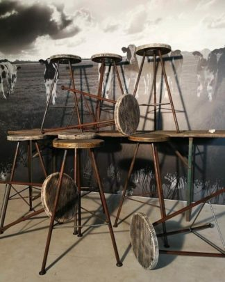 industriele kruk hout en staal